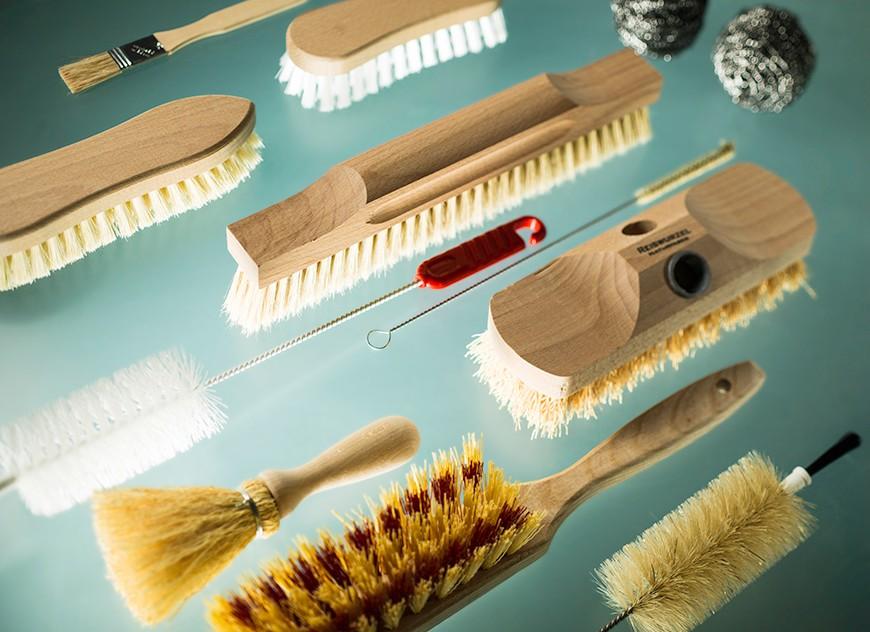 Bottle and rough brushes, kitchen brushes